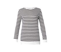 Navy-striped long-sleeved top
