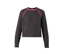 Contrast-stripe Aran-knit sweater