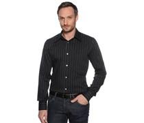 Hemd Slim Fit, schwarz/blau gestreift, Herren
