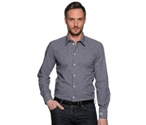 Hemd Custom Fit, anthrazit/weiß gestreift, Herren