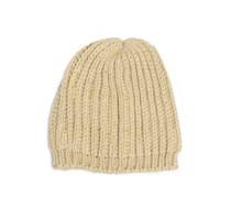 Mütze, creme gold lurex, Damen
