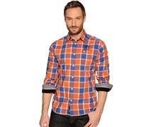Hemd Regular Fit, royalblau/orange kariert, Herren