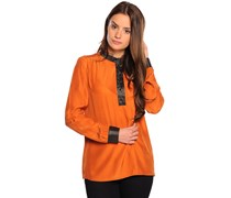 Seidenbluse, orange, Damen
