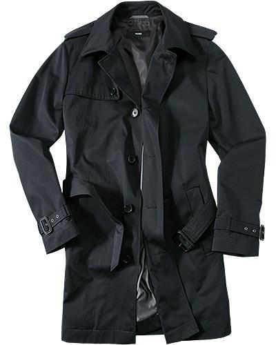 hugo boss herren herren hugo boss mantel david schwarz grau unifarben klassisch reduziert. Black Bedroom Furniture Sets. Home Design Ideas