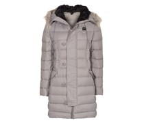 Quilt Down Fur Hood Grey