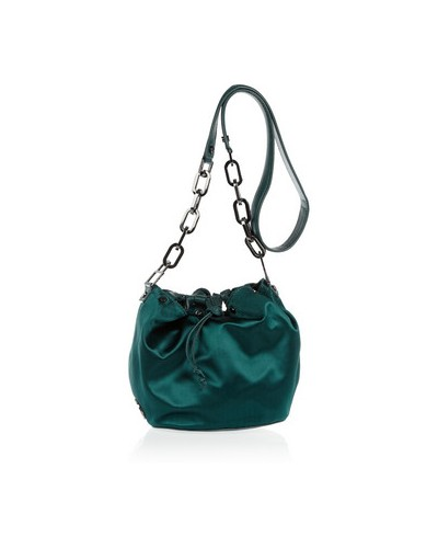 Claira satin and leather bucket bag,Green