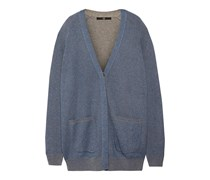Tibi blue and gray cardigan- Mid-weight jacquard-knit- Patch pockets, ribbted trim- Concealed button fastenings through front- 35% cotton, 35% viscose, 20% wool, 10% camel- Hand wash,Blue