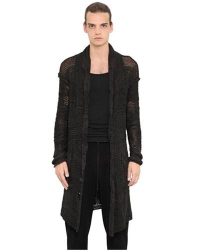 isabel benenato herren isabel benenato langer cardigan aus hanf baumwollmischung schwarz. Black Bedroom Furniture Sets. Home Design Ideas
