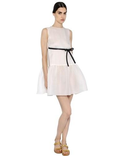 valentino damen valentino kleid aus seide mit r schen elfenbein reduziert. Black Bedroom Furniture Sets. Home Design Ideas