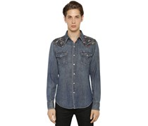SAINT LAURENT - WESTERNHEMD AUS DENIM MIT PAISLEYDETAIL - BLAU