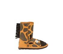 EMU AUSTRALIA - WILDLEDER- & MERINOWOLLE-STIEFEL MIT GIRAFFENDRUCK - ORANGE/BROWN