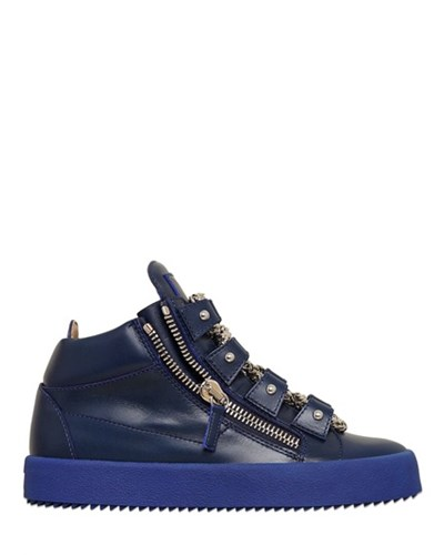 giuseppe zanotti damen giuseppe zanotti 20mm hohe sneakers aus leder mit kettensneakers blau. Black Bedroom Furniture Sets. Home Design Ideas