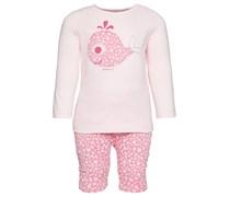 ESPRIT Longsleeve und Hose, Front-Applikation, Jersey Baby Rosa Platzierter Druck vorne Langarm Lang Runder Ausschnitt