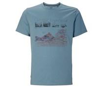 Jack Wolfskin T-Shirt Mossburn OC für Herren Herren Blau Platzierter Druck vorne Kurzarm Runder Ausschnitt
