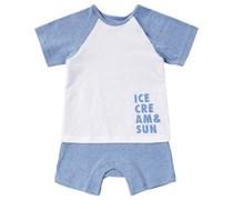 bellybutton Sunny Spieler, Zweilagen-Look, Statement-Print Baby Blau uni Kurzarm Kurz Runder Ausschnitt