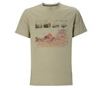 Jack Wolfskin T-Shirt Mossburn OC für Herren Herren Grün Platzierter Druck vorne Kurzarm Runder Ausschnitt