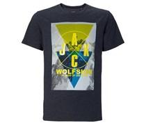 Jack Wolfskin T-Shirt Masterton OC für Herren Herren Blau Platzierter Druck vorne Kurzarm Runder Ausschnitt