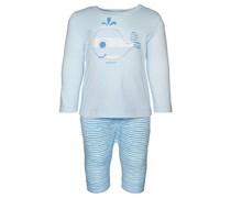 ESPRIT Longsleeve und Shorts, Patch im Tier-Motiv, Gummizug Baby Blau uni Langarm Runder Ausschnitt