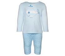 ESPRIT Langarmshirt und Shorts, Aufnäher im Tier-Motiv, Gummizug Baby Blau uni Langarm Runder Ausschnitt
