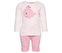 ESPRIT Langarmshirt und Hose, Front-Applikation, Jersey Baby Rosa Platzierter Druck vorne Langarm Lang Runder Ausschnitt