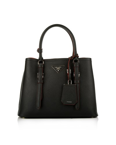 prada damen prada tasche saffiano cuir double bag small. Black Bedroom Furniture Sets. Home Design Ideas