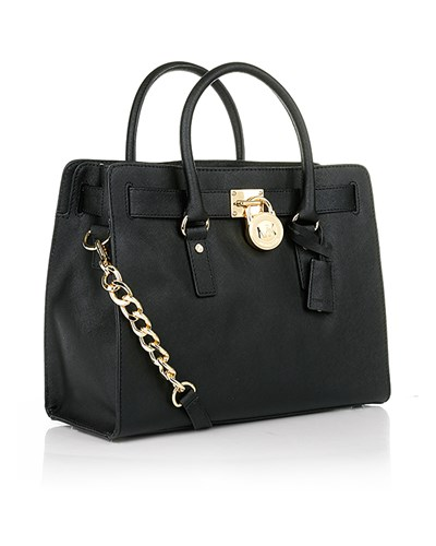 michael kors damen hamilton lg ew satchel black henkeltasche von michael kors in schwarz. Black Bedroom Furniture Sets. Home Design Ideas