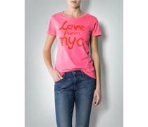 Damen Tommy Hilfiger Damen T-Shirt pink rosa uni mit Motiv Sportiv