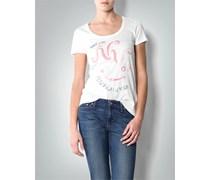 Damen Tommy Hilfiger Damen T-Shirt weiß weiß uni mit Motiv Sportiv