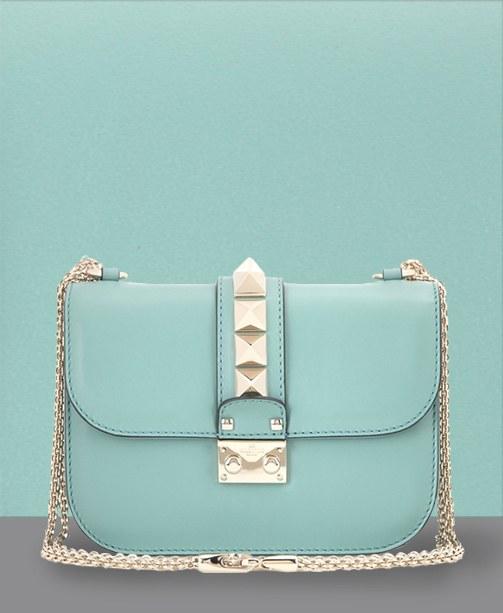 hellblaue Small Lock Schultertasche von Valentino