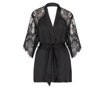 Kimono Flared Satin Lace Schwarz