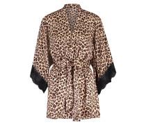 Kimono Satin Leopard Schwarz