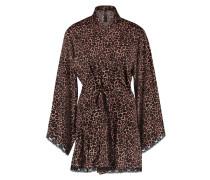 Kimono Satin Cheetah Schwarz