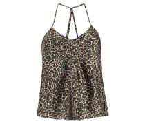 Singlet Cami Satin Leopard Rosa