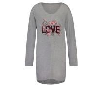 Nachthemd V-Ausschnitt Grau