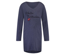 Nachthemd V-Ausschnitt Blau