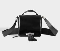Kleine Handtasche mit Griff Sailor Chain aus schwarzem Kalbsleder
