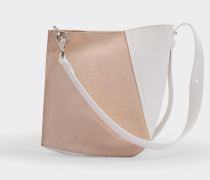 Hook S Asymmetrical Bucket Bag in White and Pale Pink Calfskin