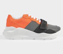 Sneaker Reg L Low aus silbernem und orangem Synthetikmaterial