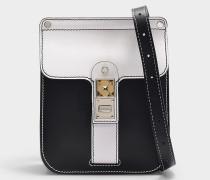 Tasche PS11 Box aus weißem und schwarzem Glattleder