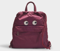 Mini Drawstring Crystal Eyes Rucksack aus Bordeaux farbenem Nylon