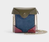 Micro Handtasche Pristine Combo mit Kettenriemen aus Kalbsleder und pflanzlich gegerbtem Velours in Fuchsia, Khaki und Beige
