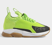 Neon Sneakers in Lime and Black Leather