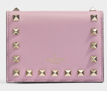 Portemonnaie Rockstud aus rosa Kalbsleder