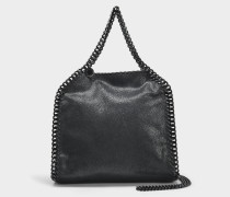 Shaggy Deer schwarzem Chain Falabella Mini Tote Bag aus schwarzem Öko Leder