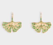 Ohrringe Ginkgo aus 18 Karat Gold und mit Tsavorit