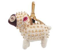 Schaf Charm Taschenaccessoire aus weißem Kaschmir und Leder