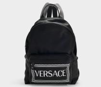 Rucksack Logo aus schwarzem und weißem Nylon