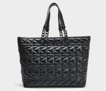 K/Kuilted Shopper Tasche aus schwarzem Kalbsleder