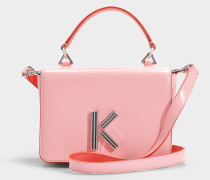 Handtasche mit Schulterriemen Klasp aus rosa Kalbsleder
