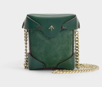 Micro Handtasche Pristine mit Kettenriemen aus Kalbsleder und pflanzlich pflanzlich gegerbtem, grünem Velours